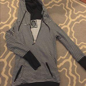 Striped hoodie 1/4 zip pullover